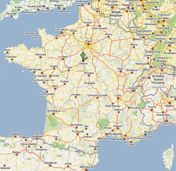 Mapa de las ciudades de Francia