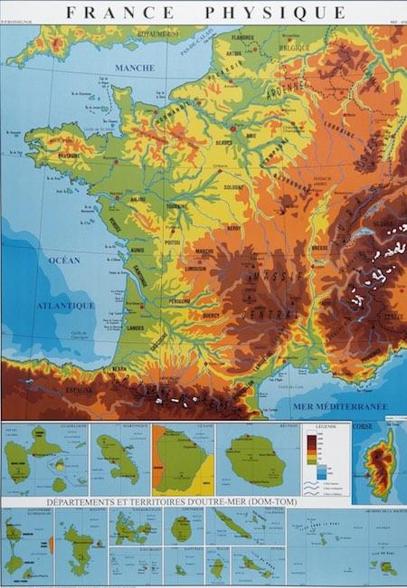 Mapa físico de Francia, de todas las Francias.
