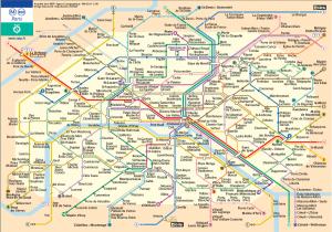 Plano completo de los transportes de París. Metro, RER y Tranvía