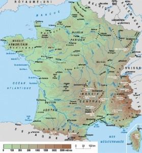 Plano de los ríos de Francia y sus cuencas. El hexágono está bien irrigado, sin lugar a dudas.