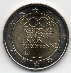 Moneda de dos euros francesa conmemorando la presidencia francesa de la Uinión Europea