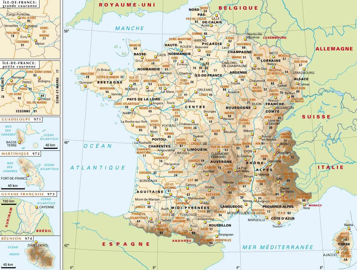 Mapa físico de la Francia continental y de ultramar.