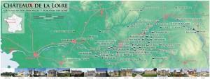 Mapa con todos los palacios de la cuenca del Loira, entre la Región centro y el Pais del Loira.