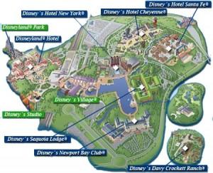 Mapa de los hoteles Disney que se encuentran en el interior del Parque de Atracciones