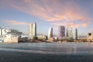 Torre CMA-CGM y Torres D'Arenc, desde el mar. Proyecto
