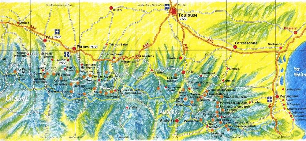 Mapa de las estaciones de esquí de los Pirineos.