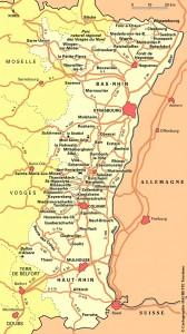 Mapa de la región de Alsacia, entre los Vosgos y el Rin, en Francia, pero junto a Alemania. El corazón de Europa