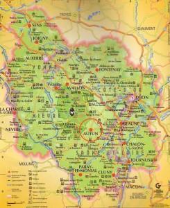 Mapa de Borgoña. Al noroeste de Lyon y al sureste de París.