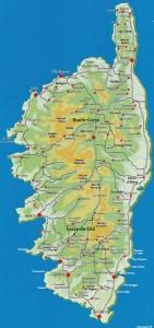 Mapa de Córcega a dos pasos de Marsella y la Costa Azul, a medio de Cerdeña y la Toscana.