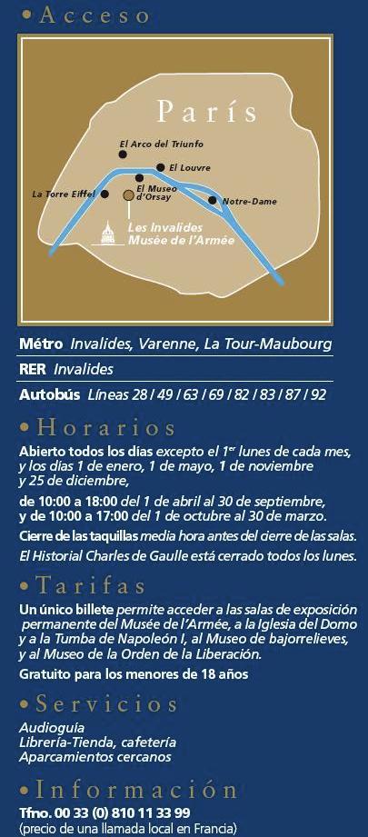 Dirección y horarios del Museo del Ejercito.