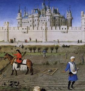El Louvre bajo Carlos VIII, en El Libro de las Horas del Duque de Berry.
