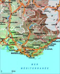 Mapa de Provenza Alpes Costa Azul, bella región de Francia