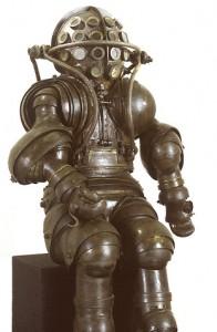 La espectacular escafandra de los hermanos Carmagnole de 1872. Parece sacada directamente de una novela de Jules Verne. Puede que fuese usada incluso !!por el Capitan Nemo!!