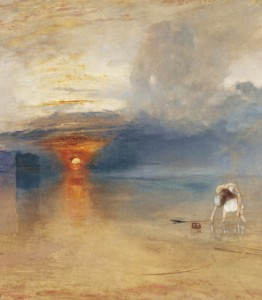 La playa de Calais durante la marea baja, cuadro que muestra ya a un Turner maduro, muy cercano de quien será su imitador Monet.