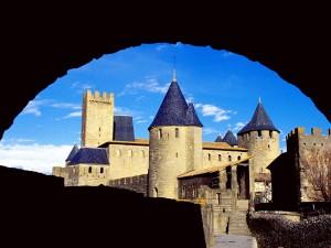 Vista peculiar del Castillo Condal de la Cité de Carcasona