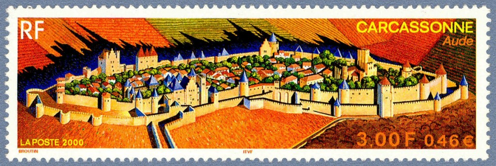 Sello del año 2000 que representa la Ciudad medieval de Carcasona