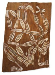 Corteza de eucalipto pintada de la Tierra de Arnhem. Serpiente del mundo de los sueños del arte aborigen