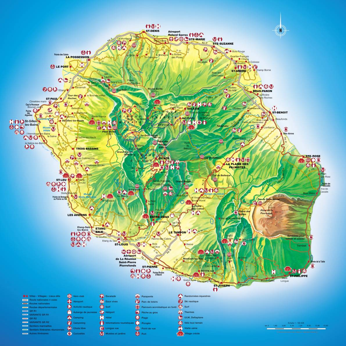 Mapa de la isla de La Reunión, la Francia del Índico, patrimonio de la Humanidad de la Unesco