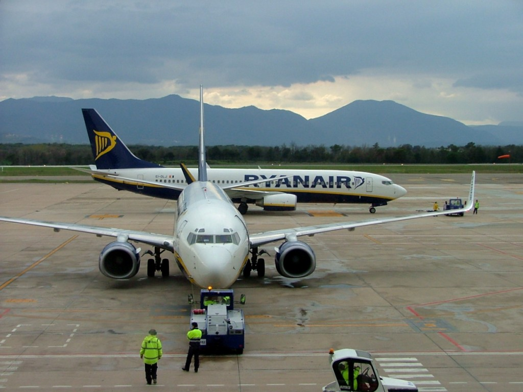 Aviones de Ryan Air en el aeropuerto parisino de Beauvais.