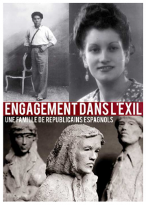 Cartel de la exposición de la familia Castillo. esculturas, pinturas y fotografías que retratan la Retirada y el Exilio de los republicanos españoles.