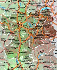 Plano de la Ródano Alpes, entre el Macizo Central y los Alpes, la segunda región de Francia en importancia.